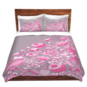 Artistic Duvet Covers and Shams Bedding | Yasmin Dadabhoy - Floral Bed 2 | flower nature pattern