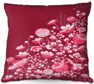 Decorative Outdoor Patio Pillow Cushion | Yasmin Dadabhoy - Floral Bed 4 | flower nature pattern