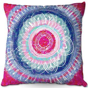 Throw Pillows Decorative Artistic | Yasmin Dadabhoy - Flower Mandala Pinks | Flowers Geometric