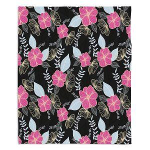 Decorative Fleece Throw Blankets | Yasmin Dadabhoy - Flower Vine 1 | Flowers Pattern Nature