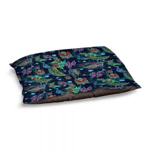 Decorative Dog Pet Beds | Yasmin Dadabhoy - Invert Peacocks | Animals Birds Pattern Nature