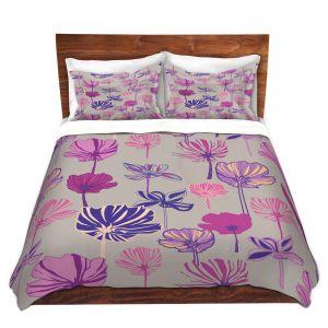 Artistic Duvet Covers and Shams Bedding   Yasmin Dadabhoy - Linear Flowers 1A   Flowers Pattern