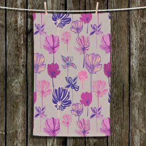 Unique Bathroom Towels | Yasmin Dadabhoy - Linear Flowers 1A | Flowers Pattern
