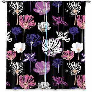 Decorative Window Treatments | Yasmin Dadabhoy - Linear Flowers 1B | Flowers Pattern