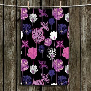 Unique Hanging Tea Towels | Yasmin Dadabhoy - Linear Flowers 1D | Flowers Pattern