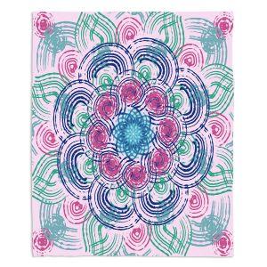 Decorative Fleece Throw Blankets | Yasmin Dadabhoy - Mandala Blue Purple | Geometric Nature Flowers