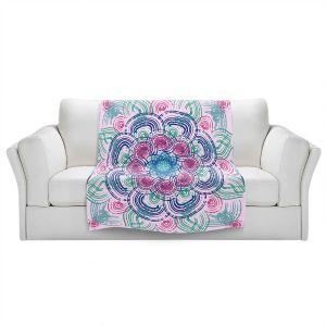 Artistic Sherpa Pile Blankets | Yasmin Dadabhoy - Mandala Blue Purple | Geometric Nature Flowers