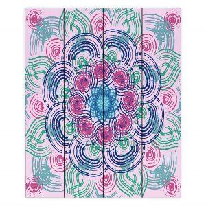 Decorative Wood Plank Wall Art | Yasmin Dadabhoy - Mandala Blue Purple | Geometric Nature Flowers