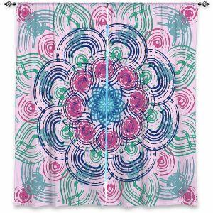Decorative Window Treatments | Yasmin Dadabhoy - Mandala Blue Purple | Geometric Nature Flowers