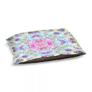 Decorative Dog Pet Beds | Yasmin Dadabhoy - Mandala Blue Yellow | Geometric Nature Flowers