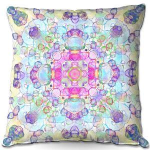 Throw Pillows Decorative Artistic | Yasmin Dadabhoy - Mandala Blue Yellow | Geometric Nature Flowers