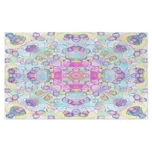 Artistic Pashmina Scarf | Yasmin Dadabhoy - Mandala Blue Yellow | Geometric Nature Flowers