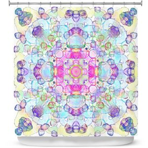 Premium Shower Curtains | Yasmin Dadabhoy - Mandala Blue Yellow | Geometric Nature Flowers