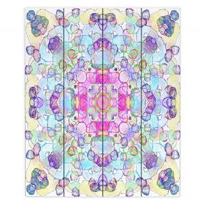 Decorative Wood Plank Wall Art | Yasmin Dadabhoy - Mandala Blue Yellow | Geometric Nature Flowers