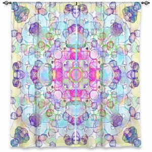 Decorative Window Treatments | Yasmin Dadabhoy - Mandala Blue Yellow | Geometric Nature Flowers