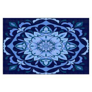 Decorative Floor Covering Mats   Yasmin Dadabhoy - Mandala Blues   Geometric Nature Flowers