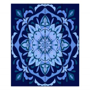 Decorative Wood Plank Wall Art | Yasmin Dadabhoy - Mandala Blues | Geometric Nature Flowers
