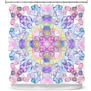 Premium Shower Curtains | Yasmin Dadabhoy - Mandala Pink Blue | Geometric Nature Flowers