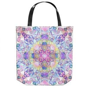 Unique Shoulder Bag Tote Bags | Yasmin Dadabhoy - Mandala Pink Blue | Geometric Nature Flowers