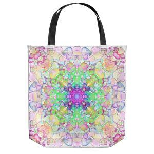Unique Shoulder Bag Tote Bags | Yasmin Dadabhoy - Mandala Rainbow | Geometric Nature Flowers