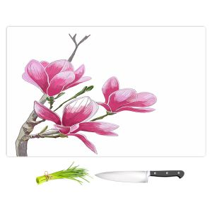 Artistic Kitchen Bar Cutting Boards | Yasmin Dadabhoy - Pink Floral 1 | Flowers Nature