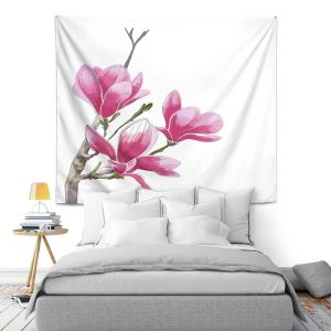 Artistic Wall Tapestry   Yasmin Dadabhoy - Pink Floral 1   Flowers Nature