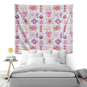Artistic Wall Tapestry | Yasmin Dadabhoy - Pink Motifs | pattern repetition symbols shapes