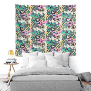 Artistic Wall Tapestry | Yasmin Dadabhoy - Popart Beige | abstract pattern geometric