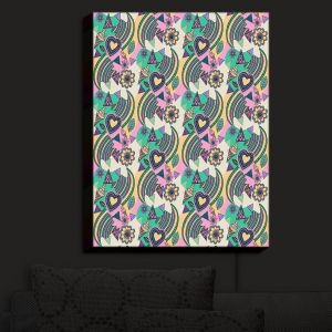 Nightlight Sconce Canvas Light | Yasmin Dadabhoy - Popart Beige | abstract pattern geometric