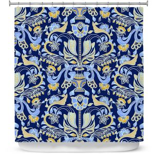 Premium Shower Curtains | Yasmin Dadabhoy - Project Wall Pattern 1 | Nature Flowers Leaves