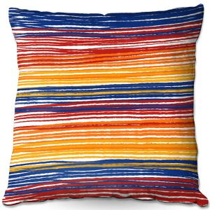 Decorative Outdoor Patio Pillow Cushion | Yasmin Dadabhoy - Rainbow Lines | Abstract Pattern