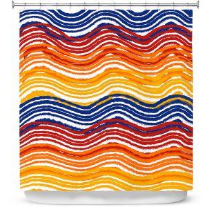 Premium Shower Curtains | Yasmin Dadabhoy - Rainbow Waves | Abstract Pattern