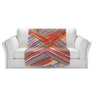 Artistic Sherpa Pile Blankets   Yasmin Dadabhoy - Red Lines   Abstract Pattern