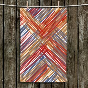 Unique Hanging Tea Towels | Yasmin Dadabhoy - Red Lines | Abstract Pattern