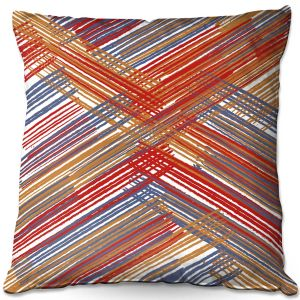 Decorative Outdoor Patio Pillow Cushion | Yasmin Dadabhoy - Red Lines | Abstract Pattern