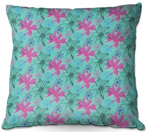Decorative Outdoor Patio Pillow Cushion | Yasmin Dadabhoy - Shaded Flower Green Pink | floral pattern repetition