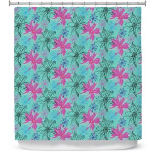 Premium Shower Curtains | Yasmin Dadabhoy - Shaded Flower Green Pink | floral pattern repetition