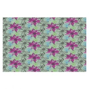 Decorative Floor Covering Mats | Yasmin Dadabhoy - Shaded Flower Moss Pink | floral pattern repetition