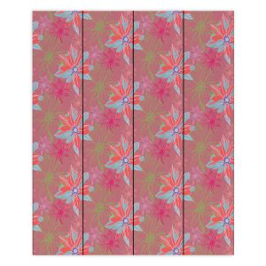 Decorative Wood Plank Wall Art | Yasmin Dadabhoy - Shaded Flower Peach Pink | floral pattern repetition