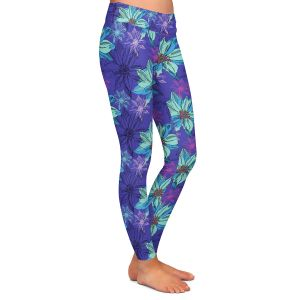 Casual Comfortable Leggings | Yasmin Dadabhoy - Shaded Flower Purple Blue | floral pattern repetition