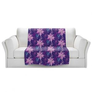 Artistic Sherpa Pile Blankets   Yasmin Dadabhoy - Shaded Flower Purple Pink   floral pattern repetition