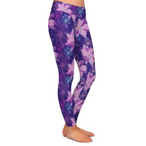 Casual Comfortable Leggings | Yasmin Dadabhoy - Shaded Flower Purple Pink | floral pattern repetition