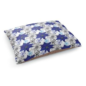 Decorative Dog Pet Beds | Yasmin Dadabhoy - Shaded Flower White Blue | floral pattern repetition