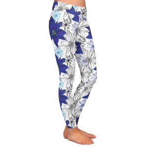 Casual Comfortable Leggings | Yasmin Dadabhoy - Shaded Flower White Blue | floral pattern repetition