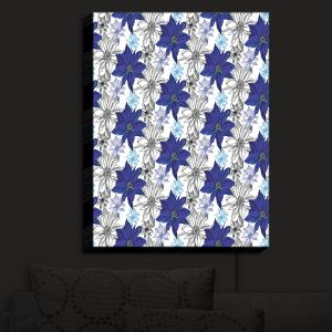 Nightlight Sconce Canvas Light | Yasmin Dadabhoy - Shaded Flower White Blue