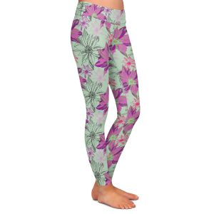 Casual Comfortable Leggings | Yasmin Dadabhoy - Shaded Flower Purple Green | floral pattern repetition
