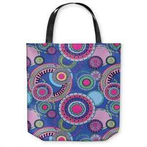Unique Shoulder Bag Tote Bags | Yasmin Dadabhoy - Truck Circles D | circle geometric flower