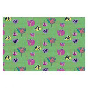 Decorative Floor Covering Mats | Yasmin Dadabhoy - Tulips Green Pink | flower floral pattern