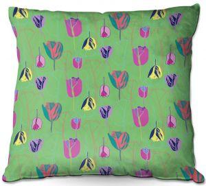 Throw Pillows Decorative Artistic | Yasmin Dadabhoy - Tulips Green Pink | flower floral pattern