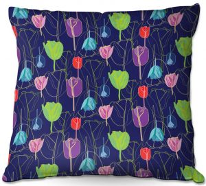 Throw Pillows Decorative Artistic | Yasmin Dadabhoy - Tulips Navy Multi | flower floral pattern